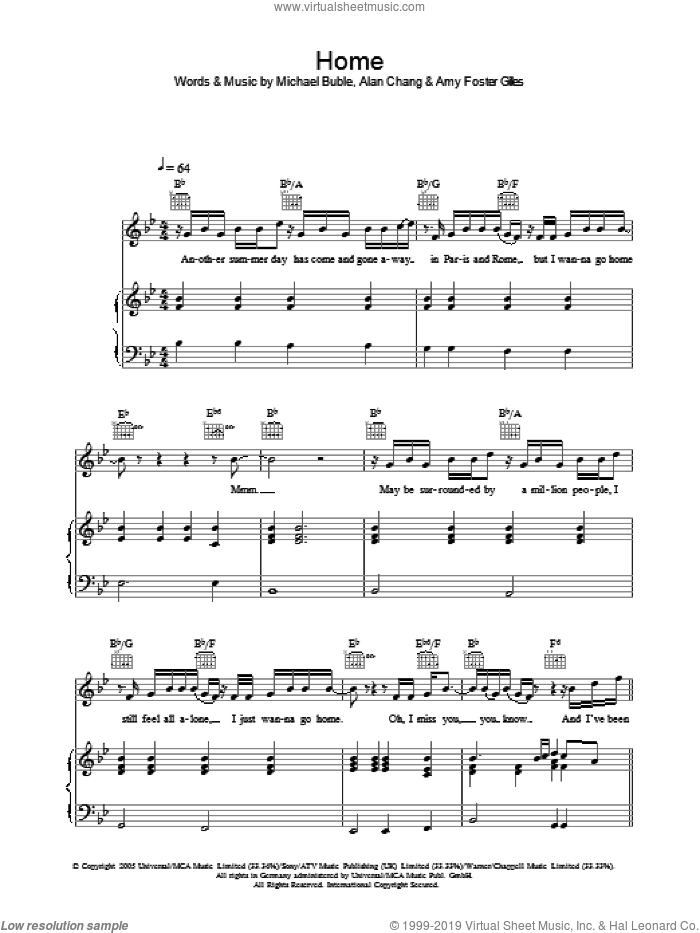 Home sheet music for voice, piano or guitar by Amy Foster Gilles, Alan Chang and Michael Buble