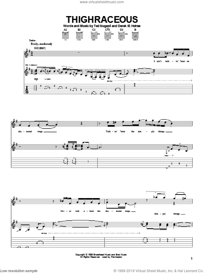 Thighraceous sheet music for guitar (tablature) by Ted Nugent and Derek St. Holmes, intermediate skill level