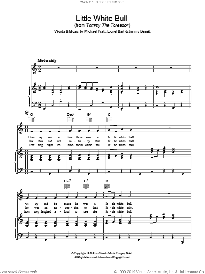 Little White Bull sheet music for voice, piano or guitar by Lionel Bart. Score Image Preview.