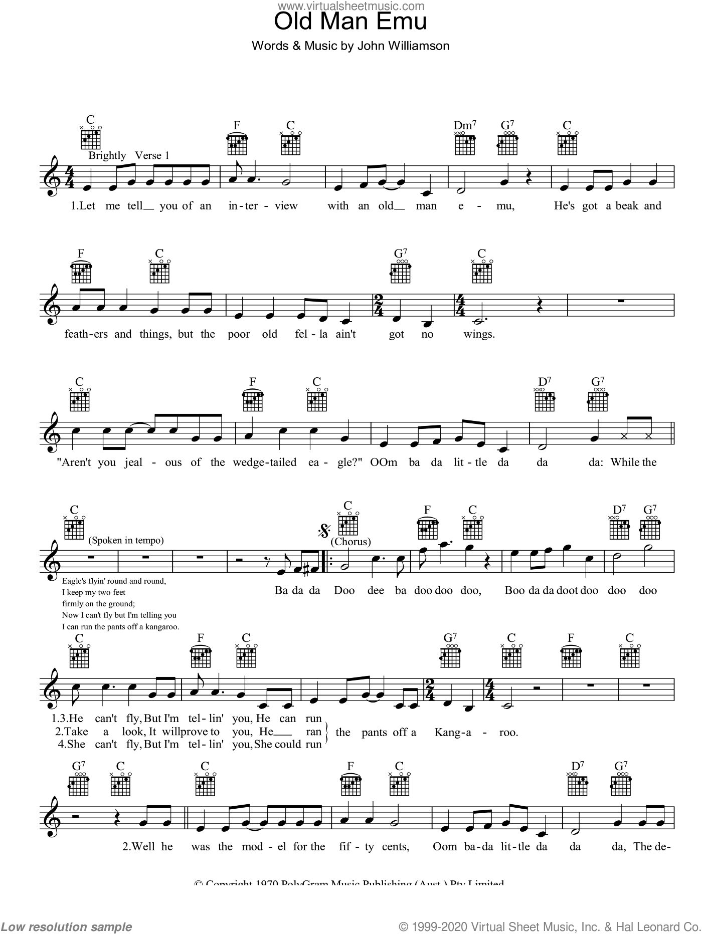 Old Man Emu sheet music for voice and other instruments (fake book) by John Lee Williamson. Score Image Preview.