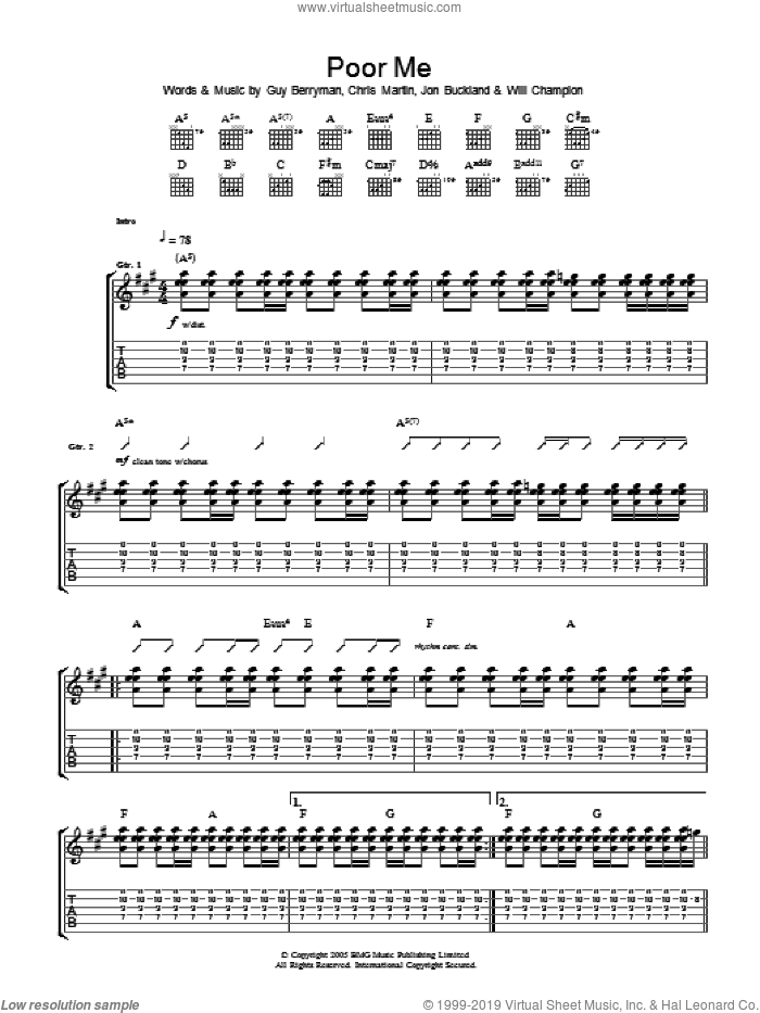Poor Me sheet music for guitar (tablature) by Chris Martin, Coldplay, Guy Berryman, Jon Buckland and Will Champion. Score Image Preview.