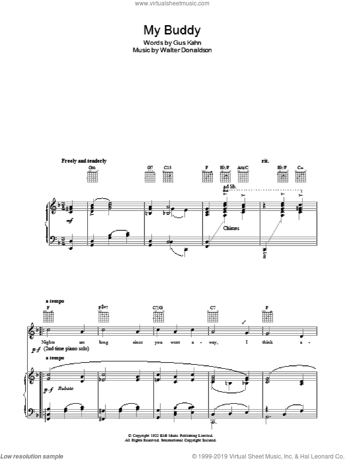 My Buddy sheet music for voice, piano or guitar by Gus Kahn and Walter Donaldson. Score Image Preview.