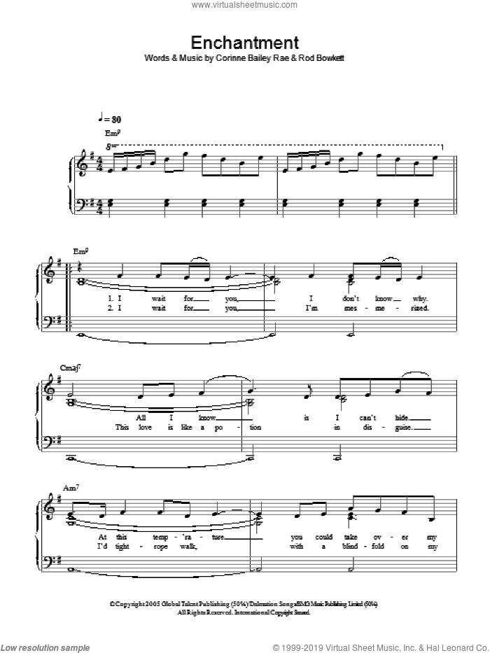 Enchantment sheet music for piano solo by Corinne Bailey Rae. Score Image Preview.