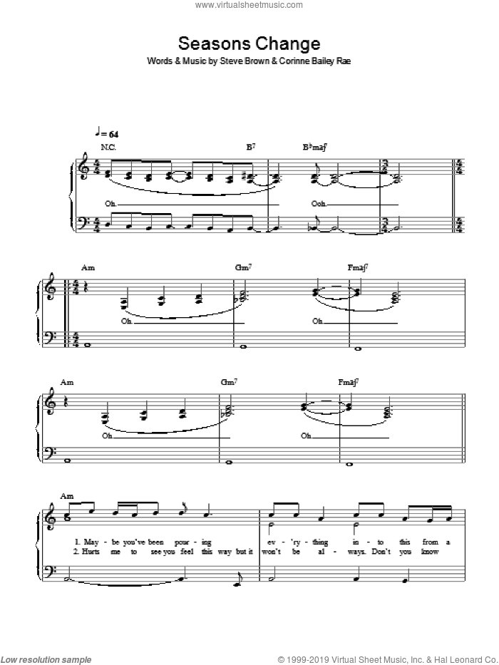 Seasons Change sheet music for piano solo by Corinne Bailey Rae and Steve Brown, easy skill level