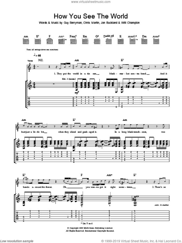 How You See The World sheet music for guitar (tablature) by Coldplay, Chris Martin, Guy Berryman, Jon Buckland and Will Champion, intermediate skill level