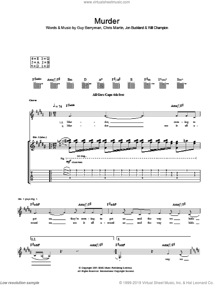 Murder sheet music for guitar (tablature) by Coldplay. Score Image Preview.