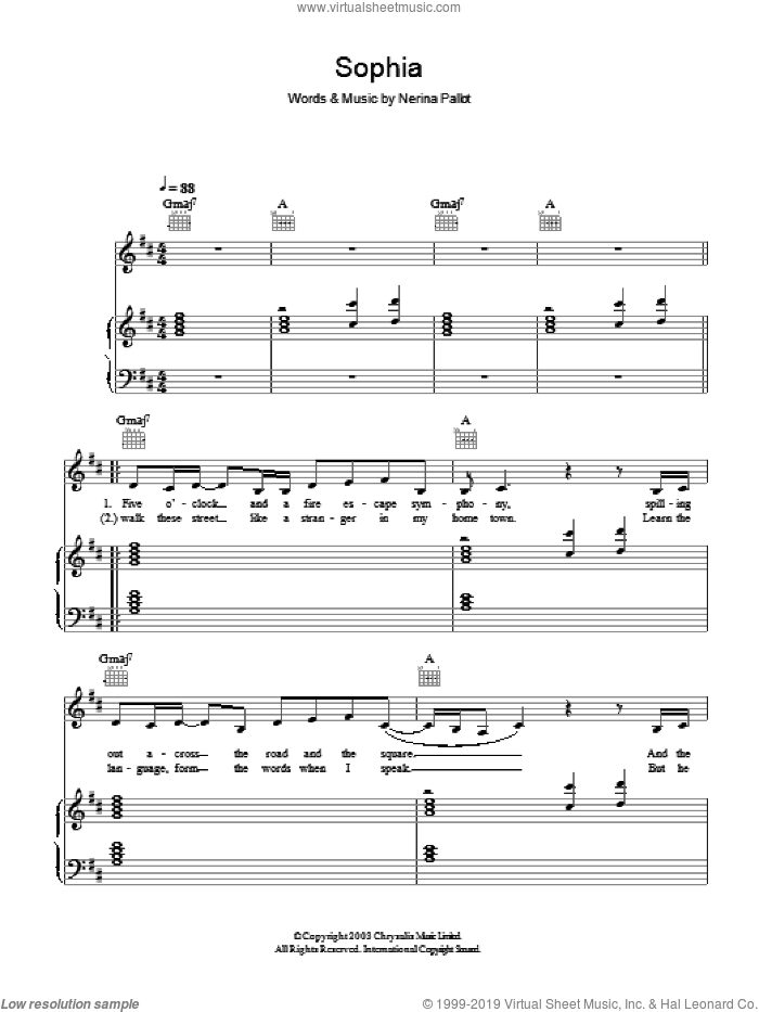 Sophia sheet music for voice, piano or guitar by Nerina Pallot