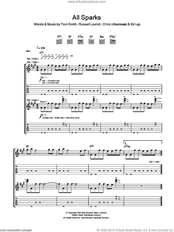 All Sparks sheet music for guitar (tablature) by Editors, Chris Urbanowicz, Ed Lay, Russell Leetch and Tom Smith, intermediate skill level