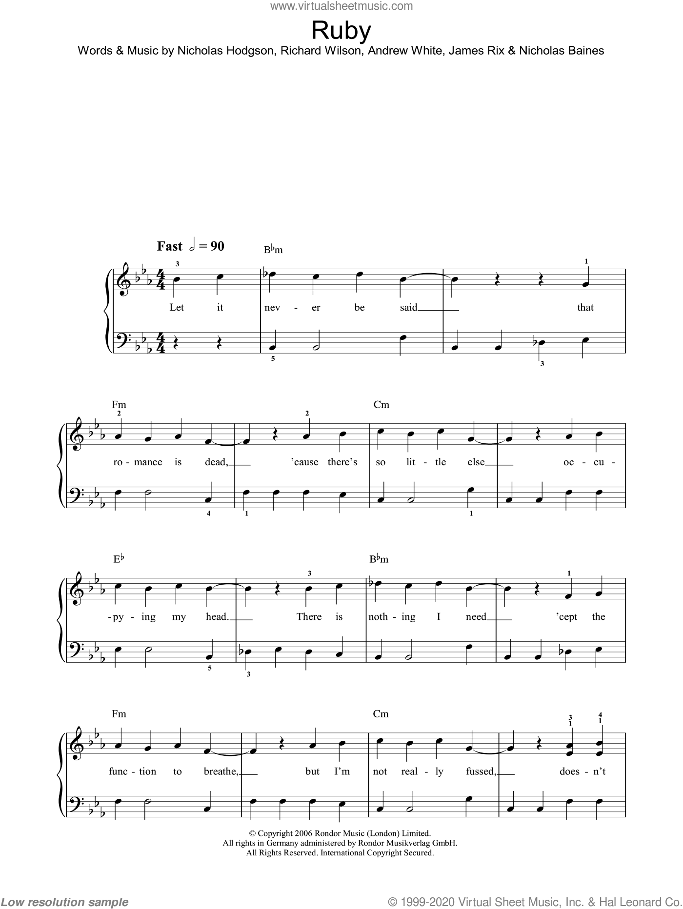 Ruby sheet music for piano solo by Kaiser Chiefs, easy. Score Image Preview.