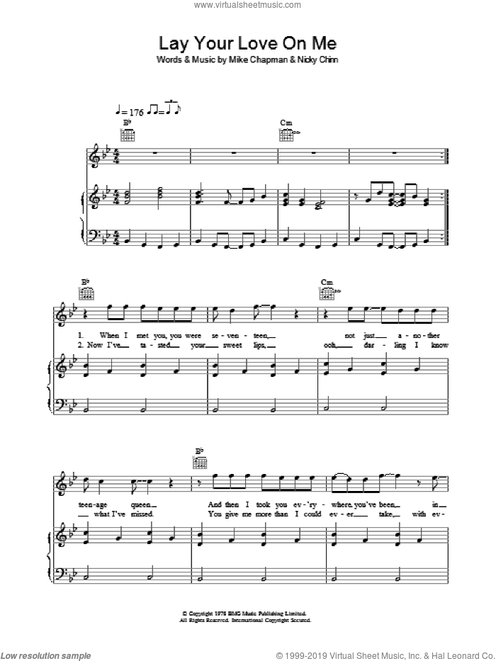 Lay Your Love On Me sheet music for voice, piano or guitar by Mike Chapman and Nicky Chinn. Score Image Preview.