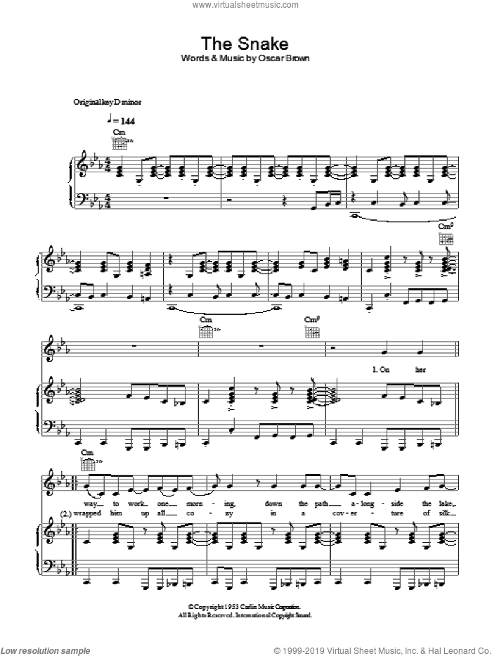 The Snake sheet music for voice, piano or guitar by Oscar Brown. Score Image Preview.