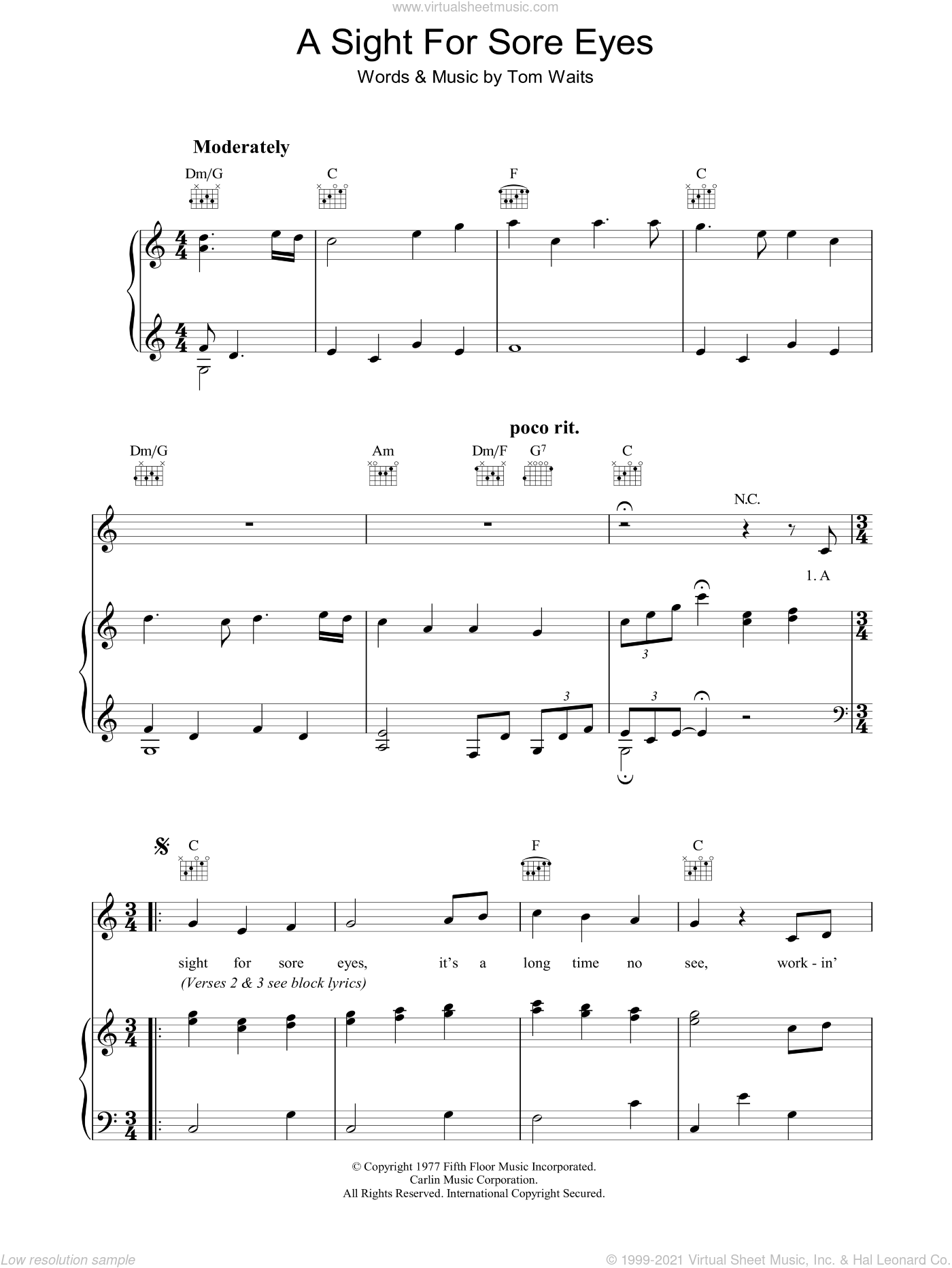 A Sight For Sore Eyes sheet music for voice, piano or guitar by Tom Waits, intermediate skill level
