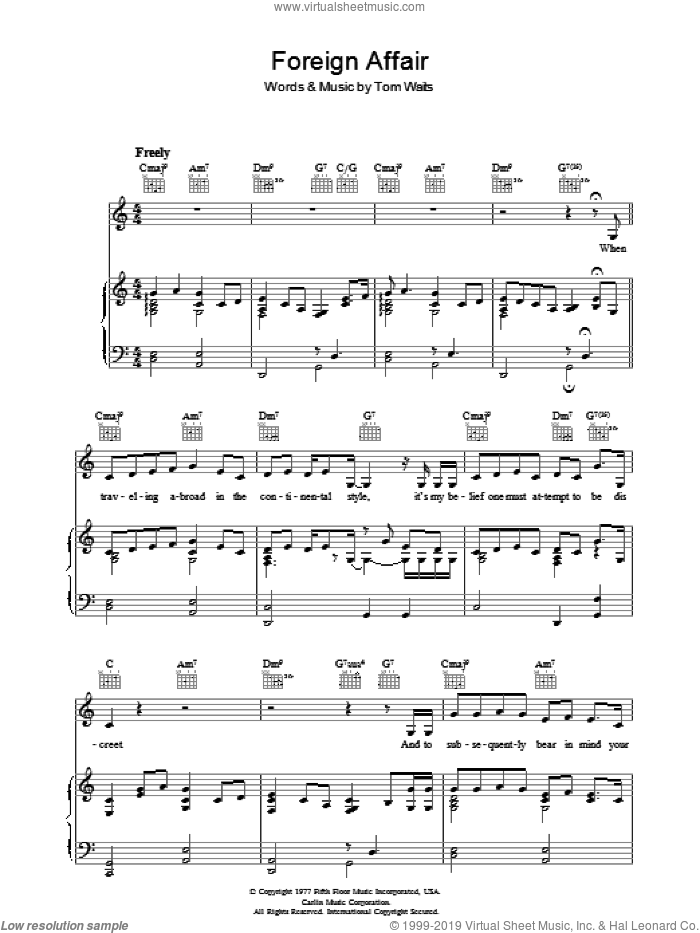 Foreign Affair sheet music for voice, piano or guitar by Tom Waits, intermediate skill level