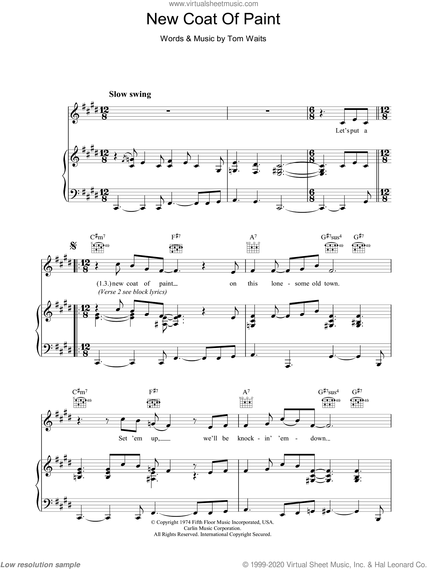 New Coat Of Paint sheet music for voice, piano or guitar by Tom Waits, intermediate. Score Image Preview.