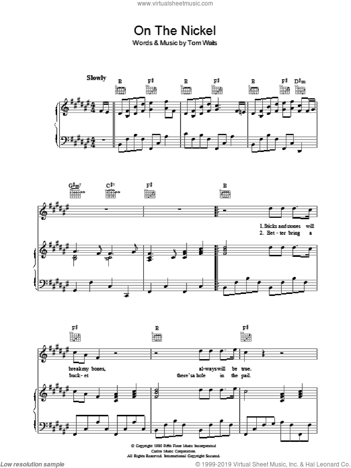 On The Nickel sheet music for voice, piano or guitar by Tom Waits. Score Image Preview.