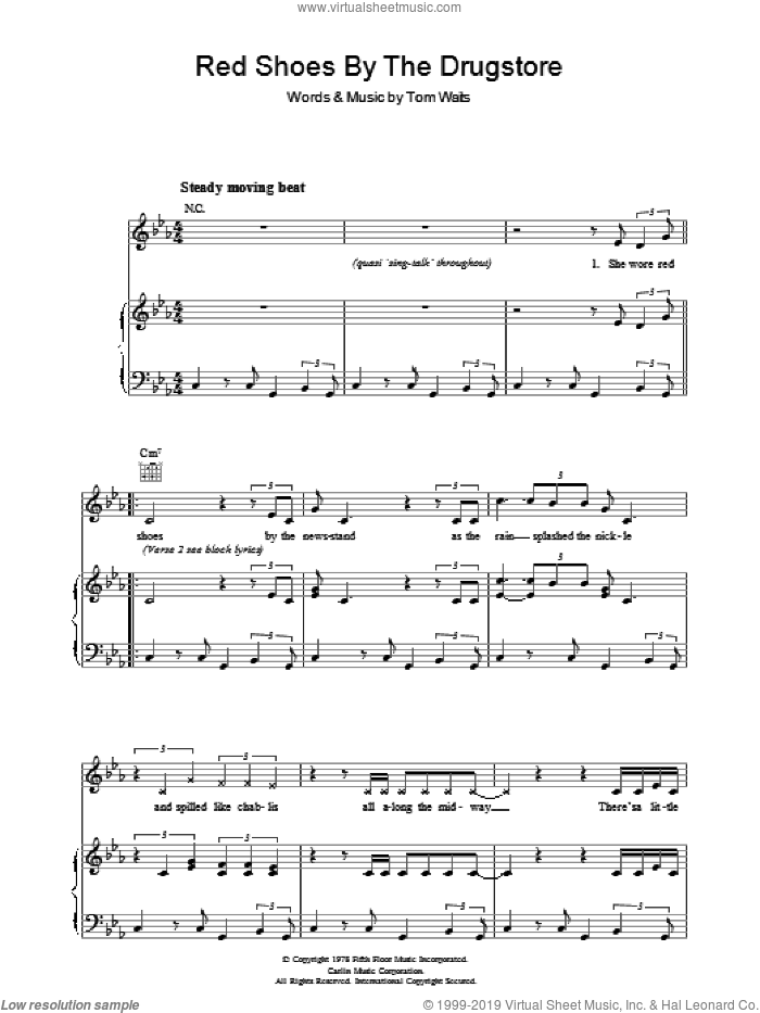 Red Shoes By The Drugstore sheet music for voice, piano or guitar by Tom Waits, intermediate skill level