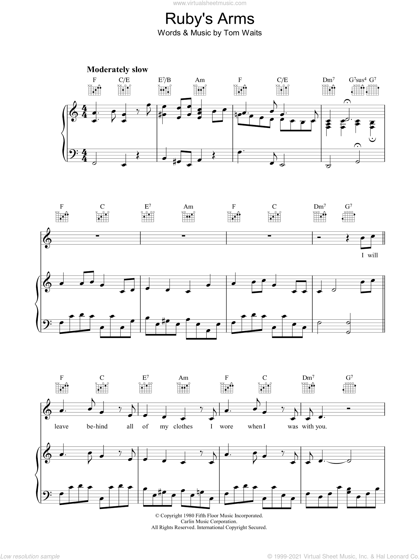 Ruby's Arms sheet music for voice, piano or guitar by Tom Waits. Score Image Preview.