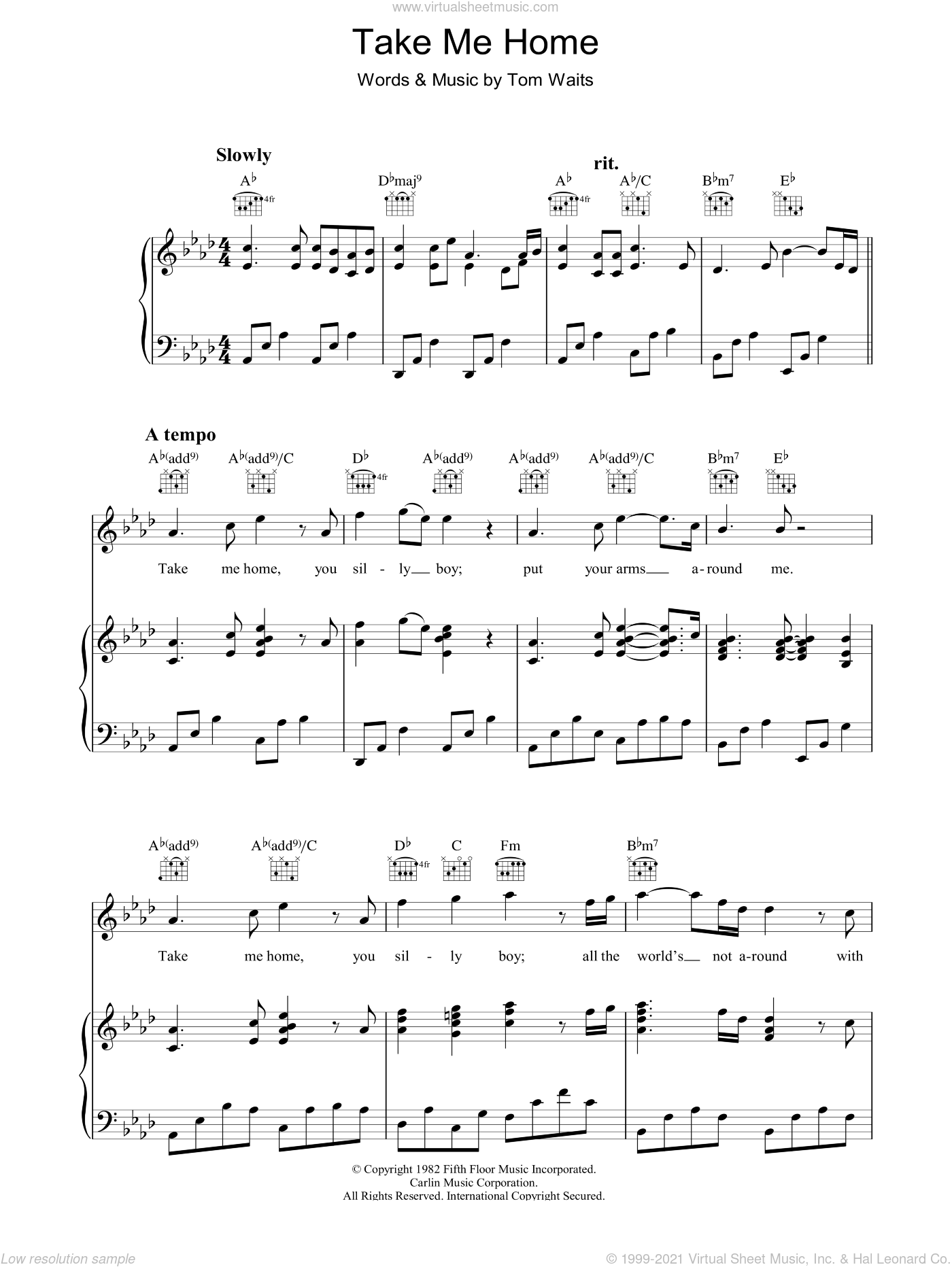 Take Me Home sheet music for voice, piano or guitar by Tom Waits. Score Image Preview.