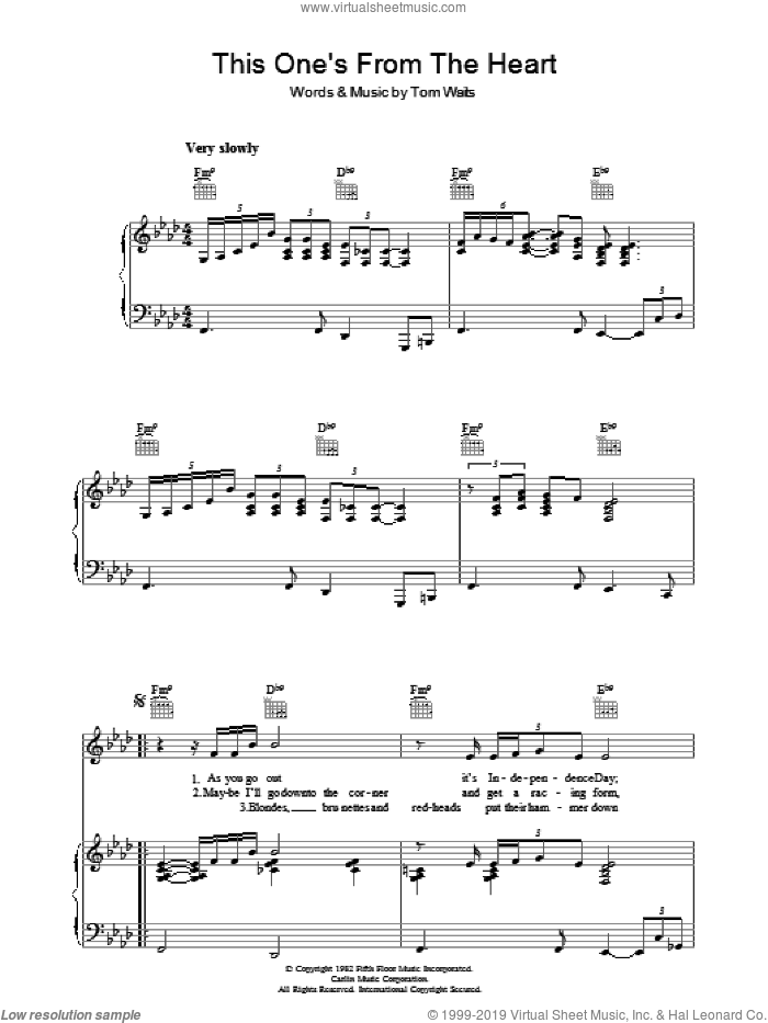 This One's From The Heart sheet music for voice, piano or guitar by Tom Waits, intermediate voice, piano or guitar. Score Image Preview.