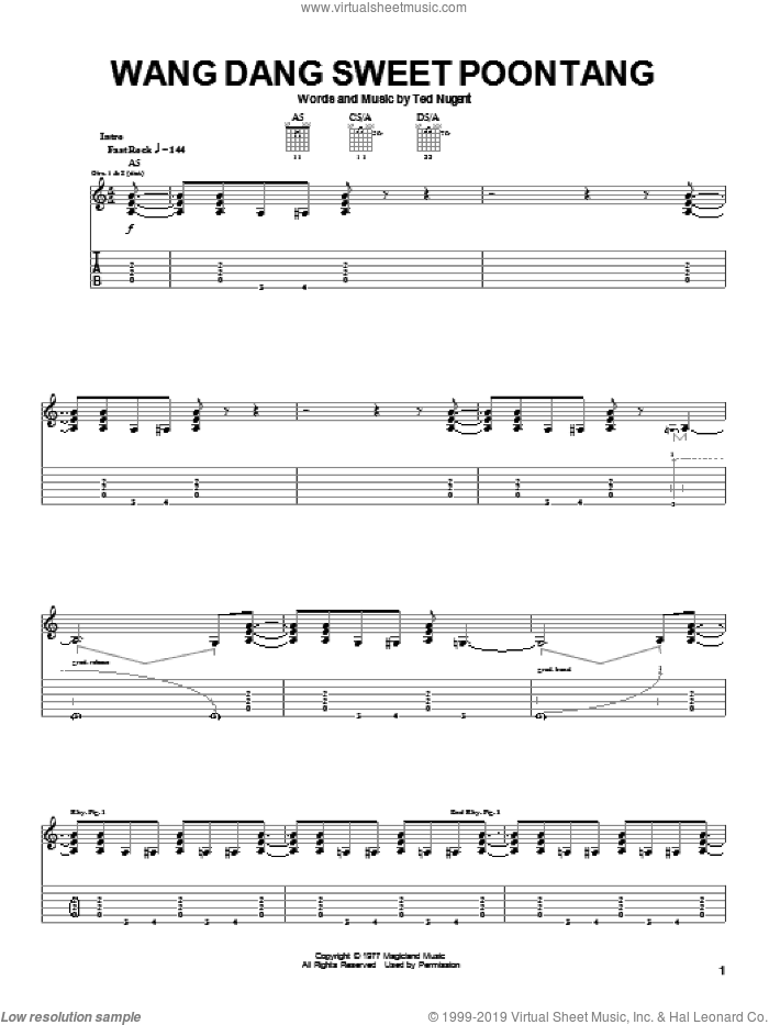Wang Dang Sweet Poontang sheet music for guitar (tablature) by Ted Nugent, intermediate skill level