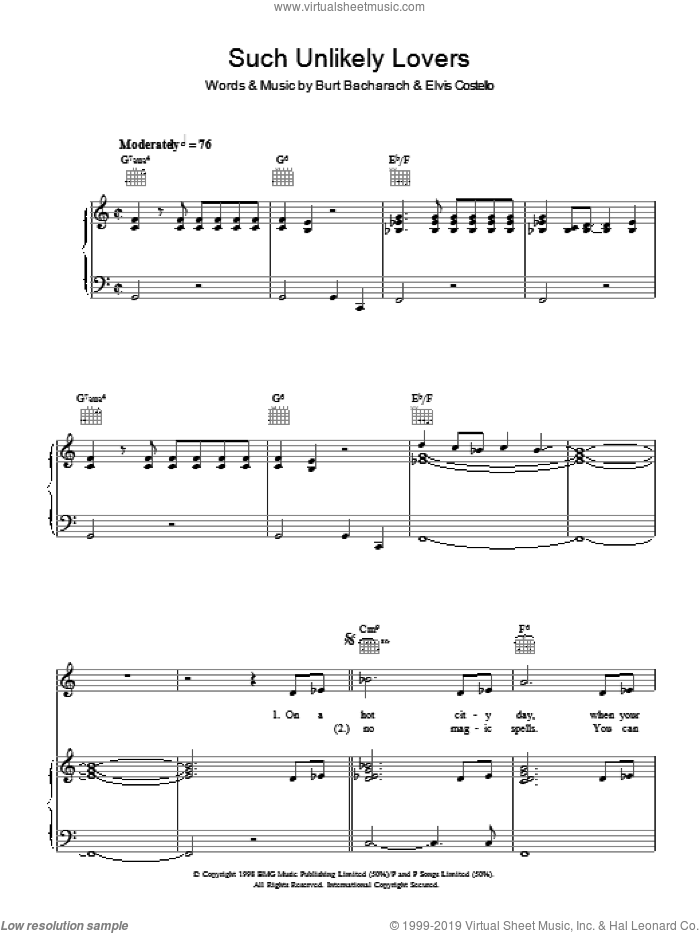 Such Unlikely Lovers sheet music for voice, piano or guitar by Burt Bacharach and Elvis Costello, intermediate voice, piano or guitar. Score Image Preview.