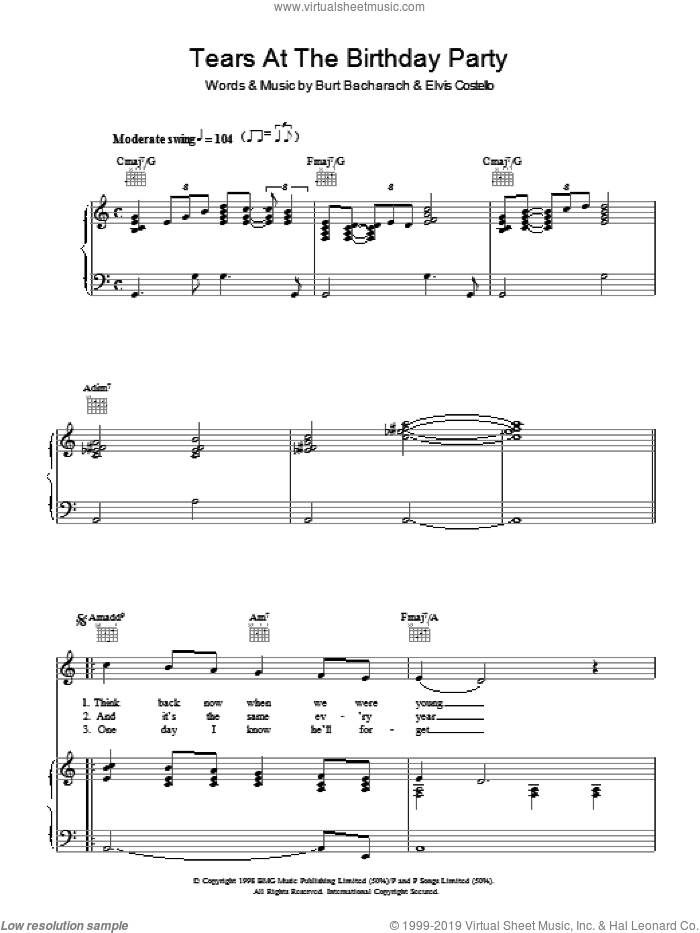 Tears At The Birthday Party sheet music for voice, piano or guitar by Burt Bacharach and Elvis Costello. Score Image Preview.