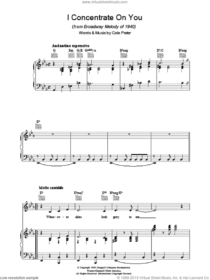 I Concentrate On You sheet music for voice, piano or guitar by Cole Porter. Score Image Preview.