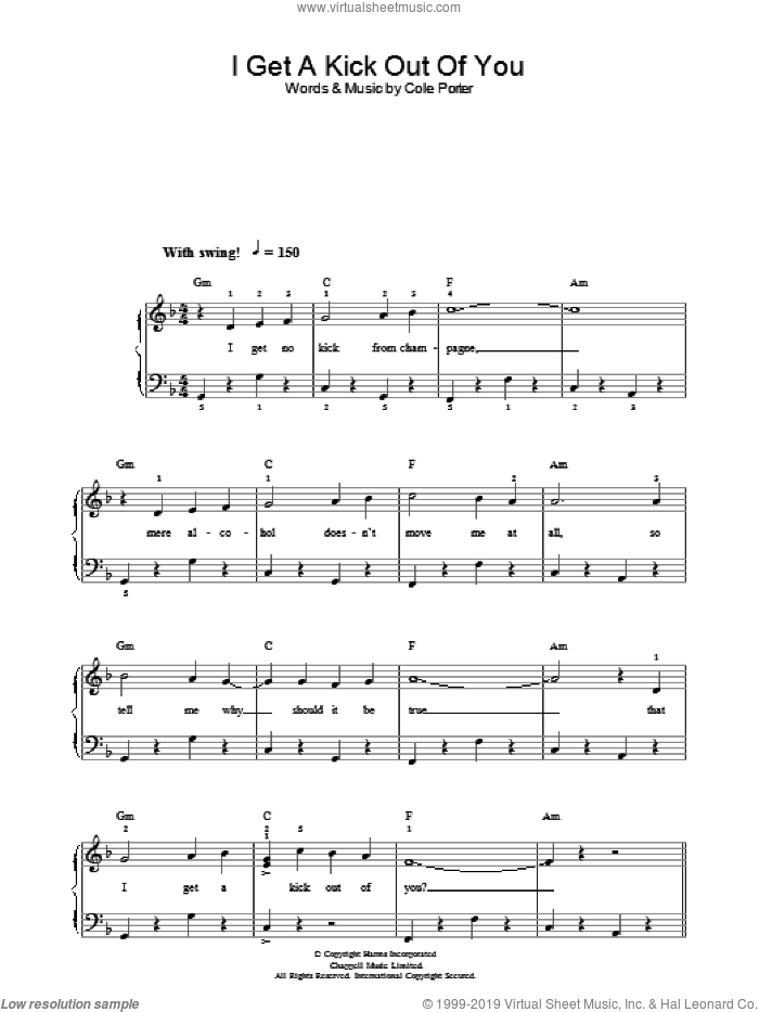 I Get A Kick Out Of You sheet music for piano solo by Frank Sinatra and Cole Porter, easy. Score Image Preview.