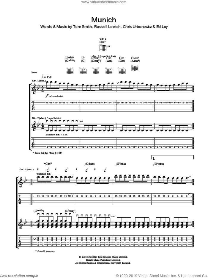 Munich sheet music for guitar (tablature) by Editors, Chris Urbanowicz, Ed Lay, Russell Leetch and Tom Smith, intermediate. Score Image Preview.