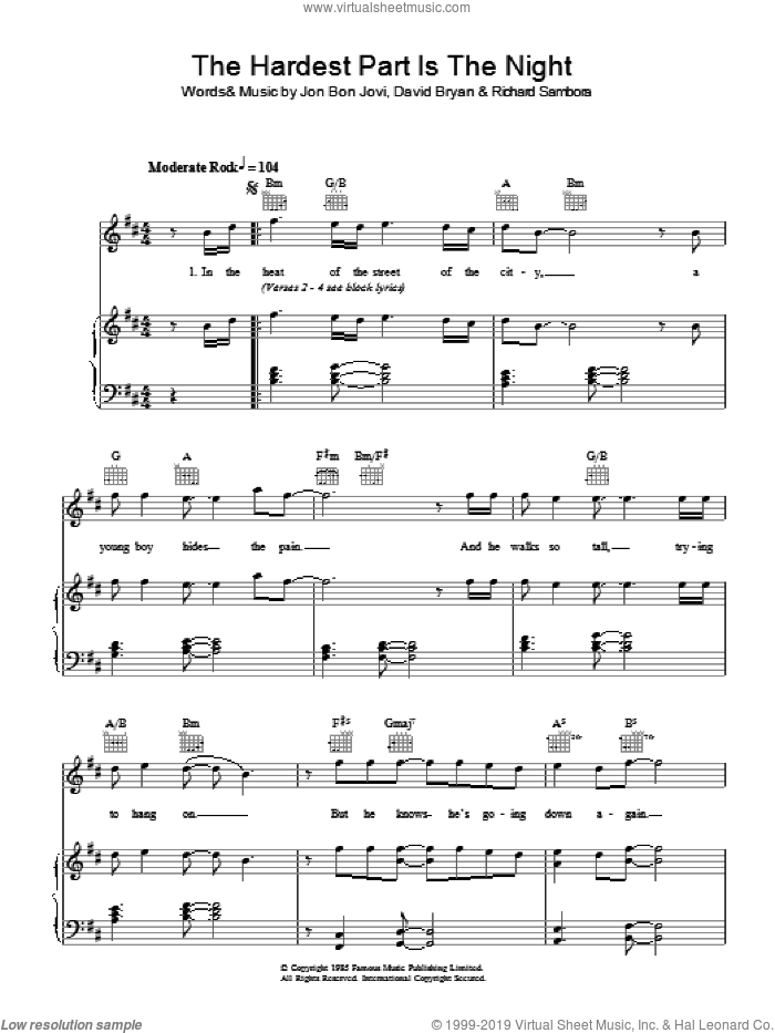 The Hardest Part Is The Night sheet music for voice, piano or guitar by Bon Jovi, David Bryan and Richie Sambora, intermediate voice, piano or guitar. Score Image Preview.