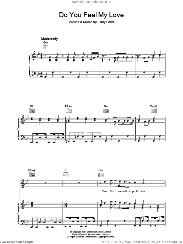 Do You Feel My Love sheet music for voice, piano or guitar by Eddy Grant. Score Image Preview.