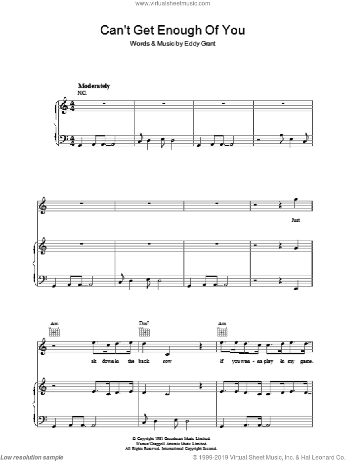 Can't Get Enough Of You sheet music for voice, piano or guitar by Eddy Grant, intermediate. Score Image Preview.