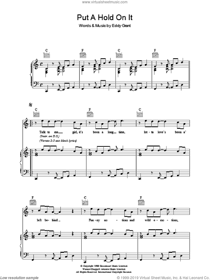 Put A Hold On It sheet music for voice, piano or guitar by Eddy Grant. Score Image Preview.