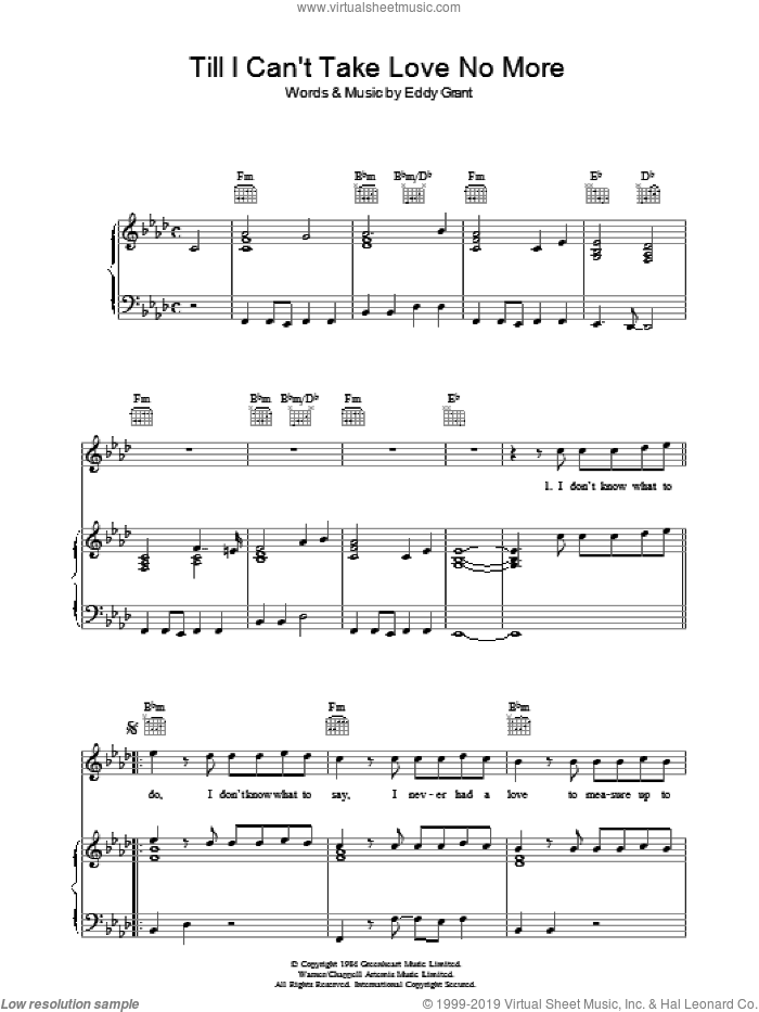 Till I Can't Take Love No More sheet music for voice, piano or guitar by Eddy Grant. Score Image Preview.