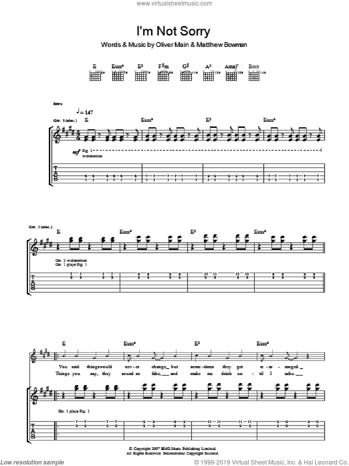 I'm Not Sorry sheet music for guitar (tablature) by Matthew Bowman and Oliver Main. Score Image Preview.