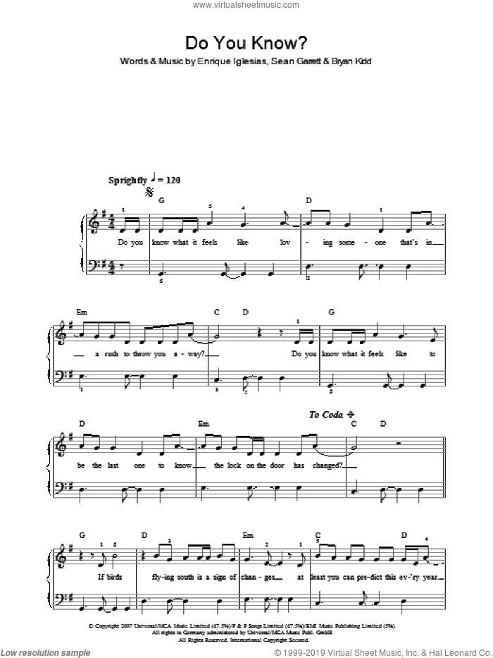 Do You Know? sheet music for piano solo by Enrique Inglesias, Bryan Kidd and Enrique Iglesias, easy piano. Score Image Preview.
