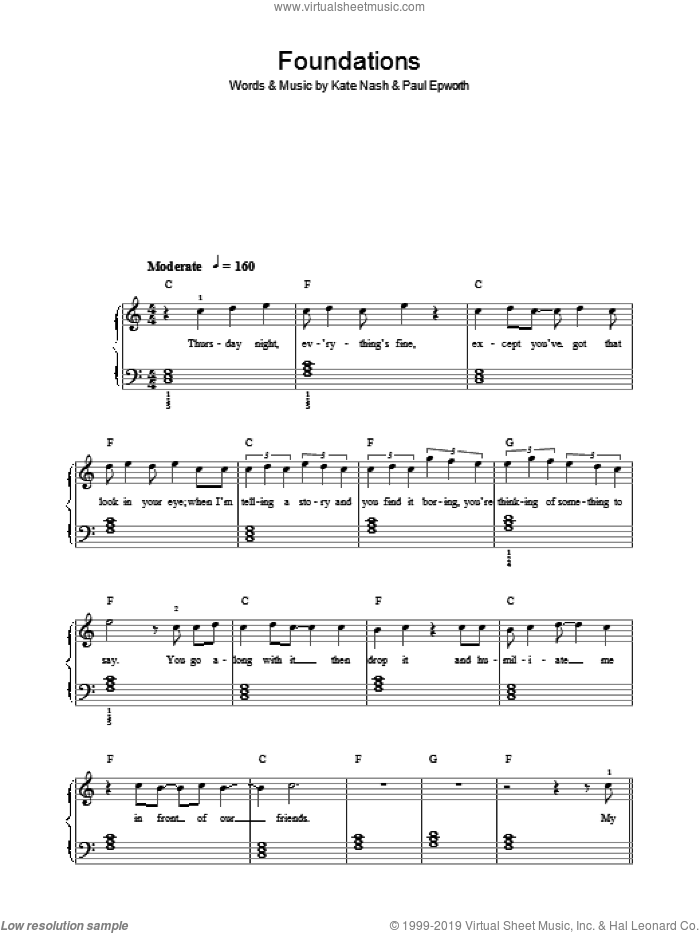 Foundations sheet music for piano solo by Paul Epworth and Kate Nash. Score Image Preview.