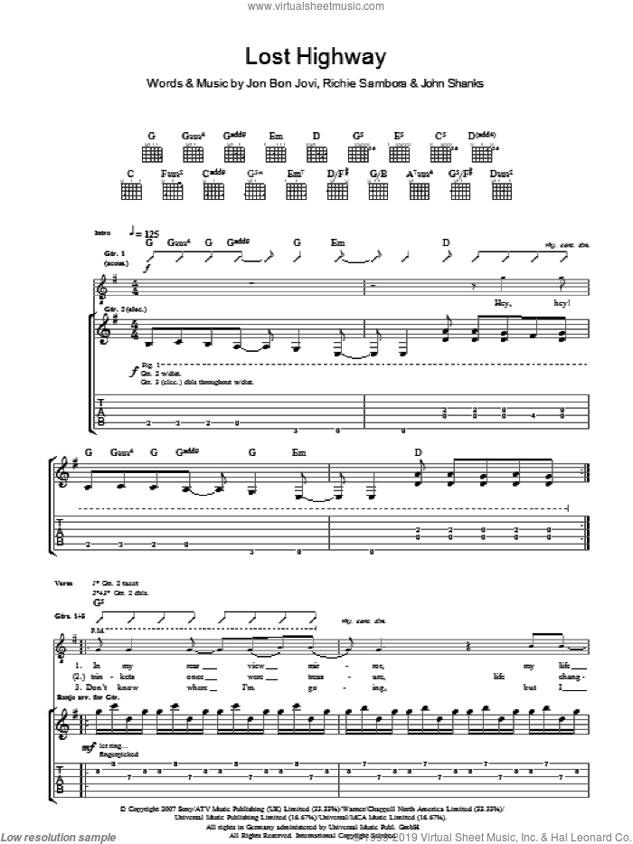 Lost Highway sheet music for guitar (tablature) by Bon Jovi, John Shanks and Richie Sambora, intermediate guitar (tablature). Score Image Preview.