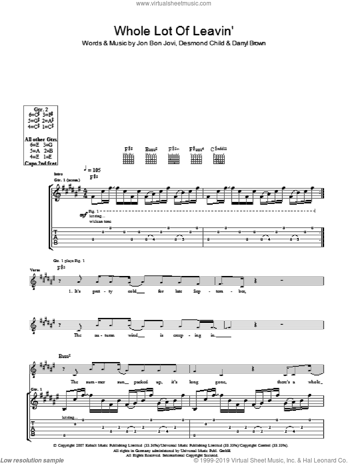 Whole Lot Of Leavin' sheet music for guitar solo (tablature) by Darrell Brown