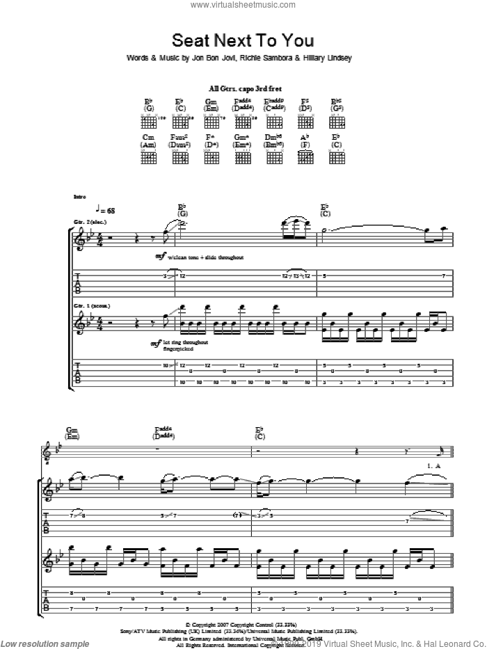 Seat Next To You sheet music for guitar (tablature) by Hillary Lindsey, Bon Jovi and Richie Sambora. Score Image Preview.