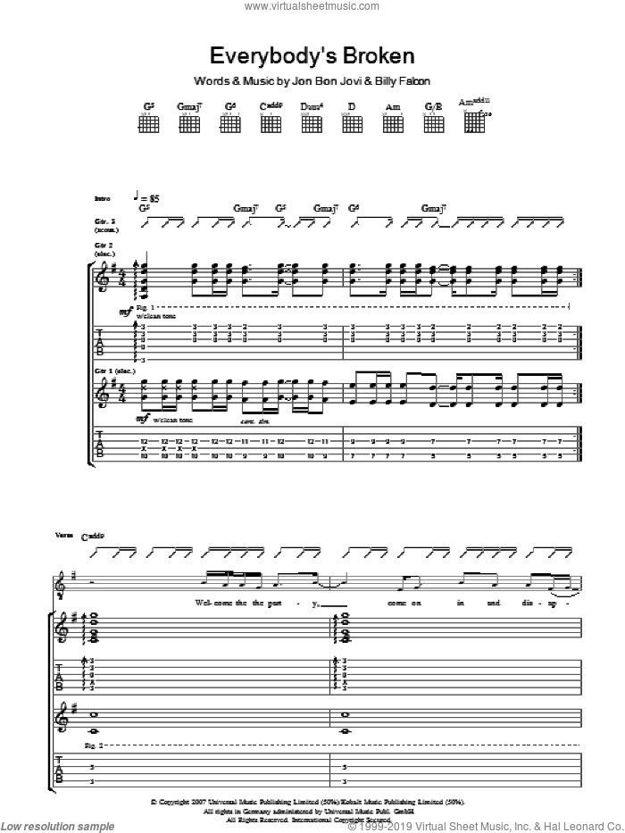 Everybody's Broken sheet music for guitar (tablature) by Billy Falcon and Bon Jovi. Score Image Preview.