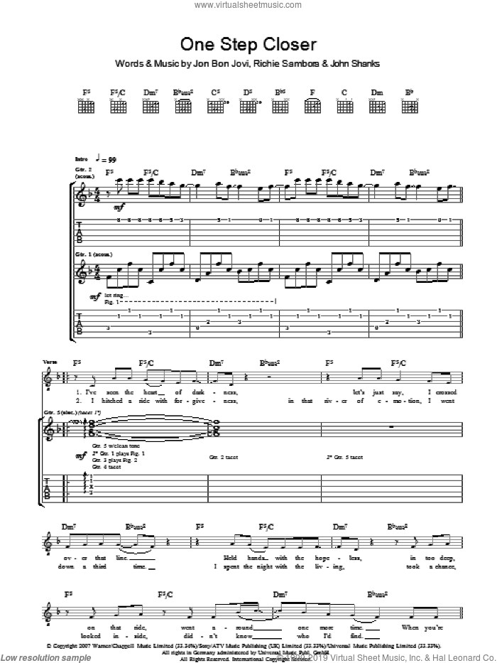 One Step Closer sheet music for guitar (tablature) by Bon Jovi, John Shanks and Richie Sambora. Score Image Preview.