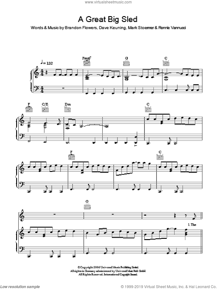 A Great Big Sled sheet music for voice, piano or guitar by Brandon Flowers, The Killers, Dave Keuning, Mark Stoermer and Ronnie Vannucci. Score Image Preview.