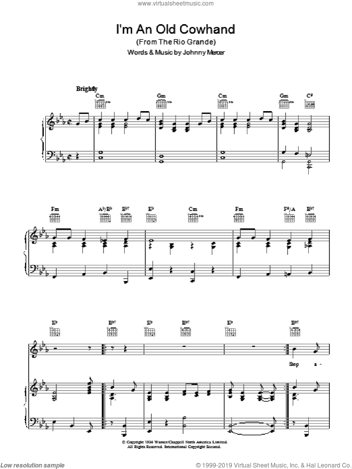 I'm An Old Cowhand sheet music for voice, piano or guitar by Johnny Mercer. Score Image Preview.