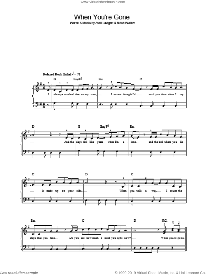 When You're Gone sheet music for piano solo by Avril Lavigne and Butch Walker, easy skill level