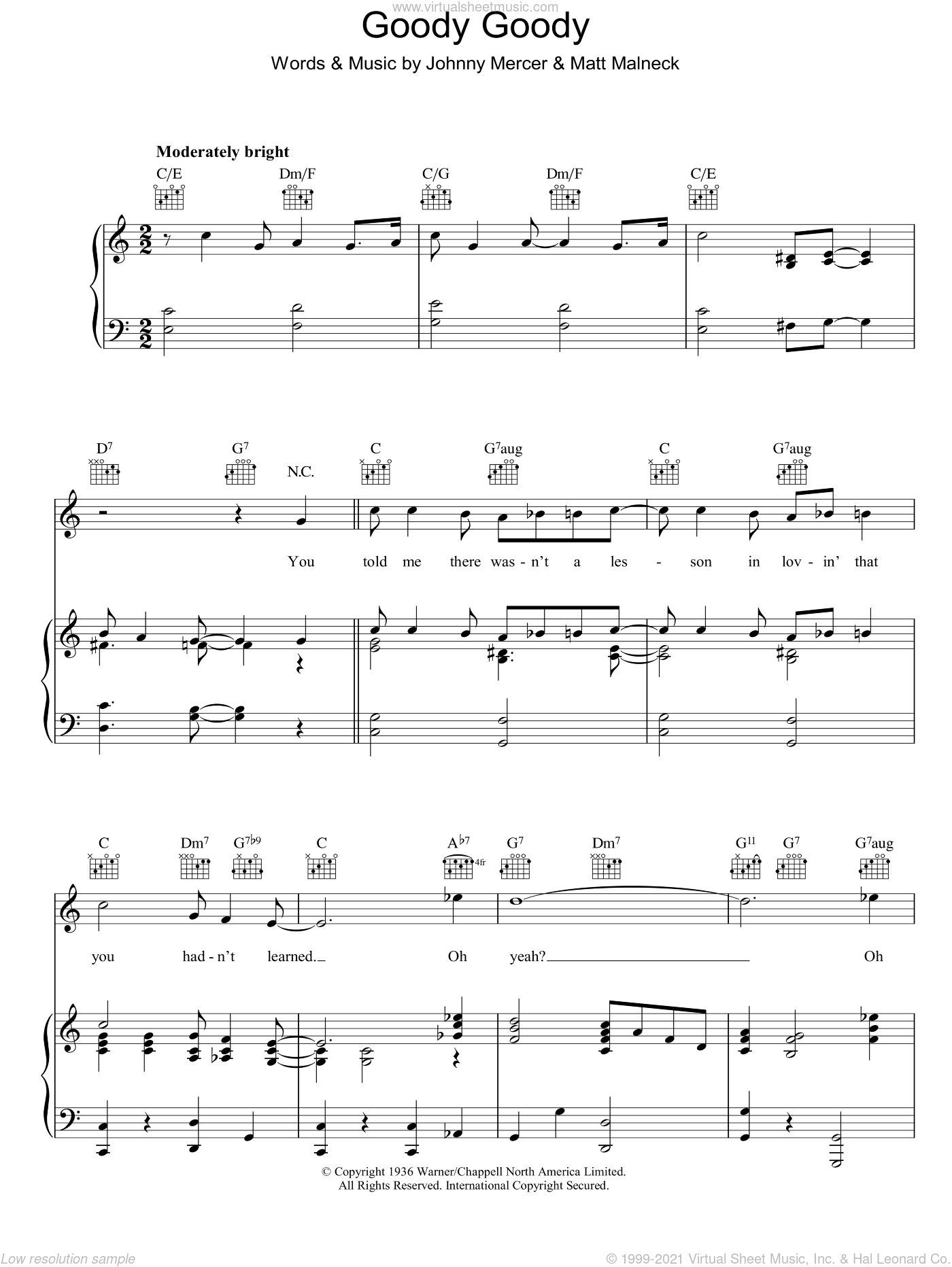 Goody Goody sheet music for voice, piano or guitar by Johnny Mercer and Matt Malneck, intermediate. Score Image Preview.