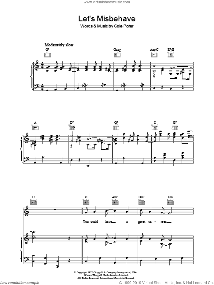 Let's Misbehave Sheet Music For Voice, Piano Or