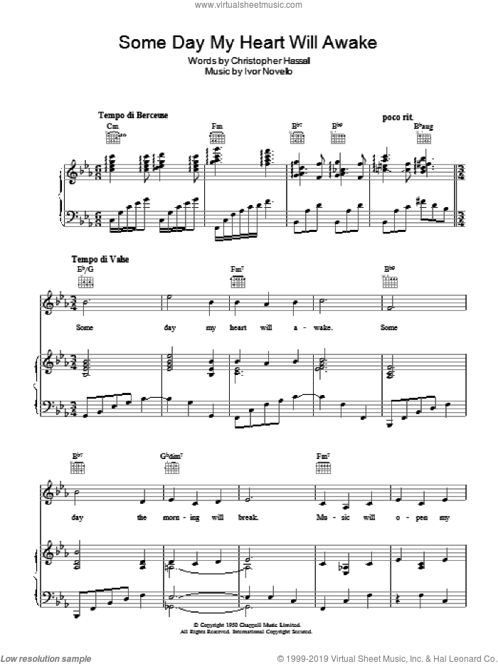 Someday My Heart Will Awake sheet music for voice, piano or guitar by Ivor Novello and Christopher Hassall, intermediate. Score Image Preview.