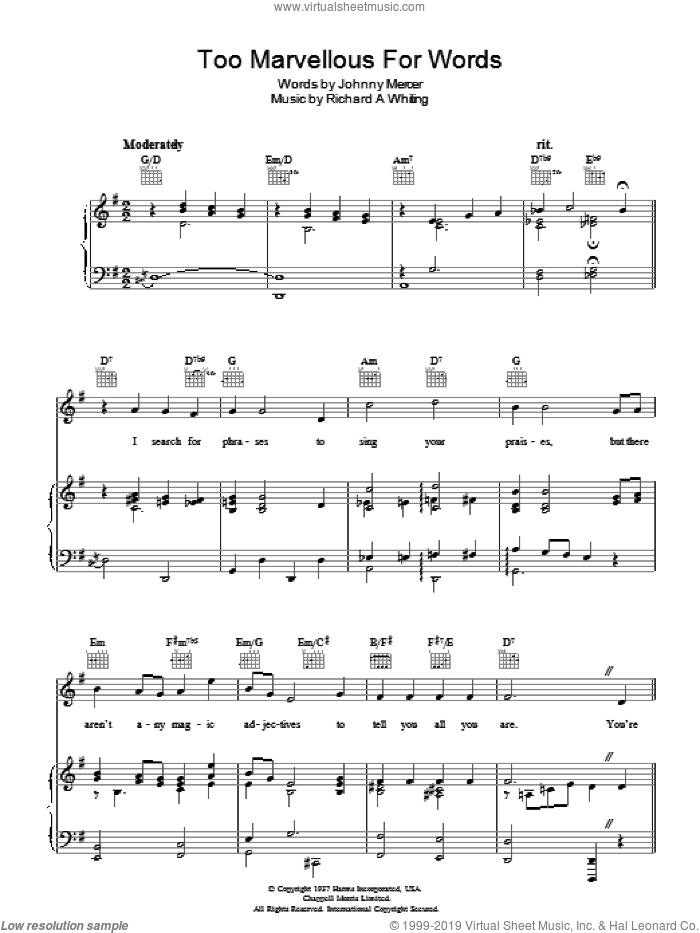 Too Marvellous For Words sheet music for voice, piano or guitar by Richard A. Whiting and Johnny Mercer. Score Image Preview.