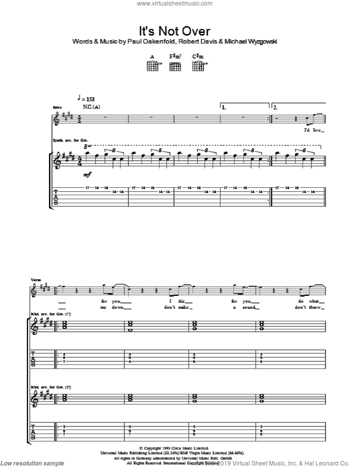 It's Not Over Yet sheet music for guitar (tablature) by Michael Wyzgowski and Paul Oakenfold
